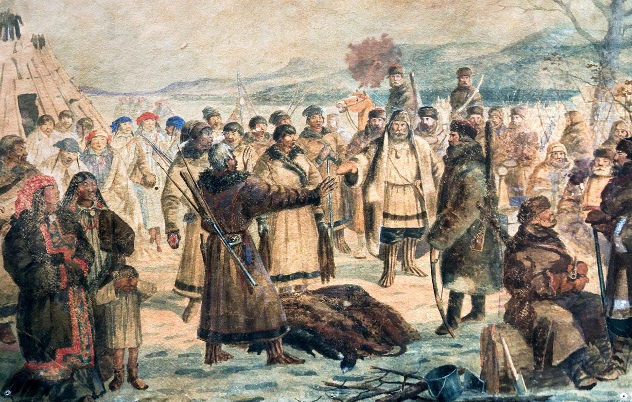 Kozaki zbirajo jasak - dajatev v krznu.