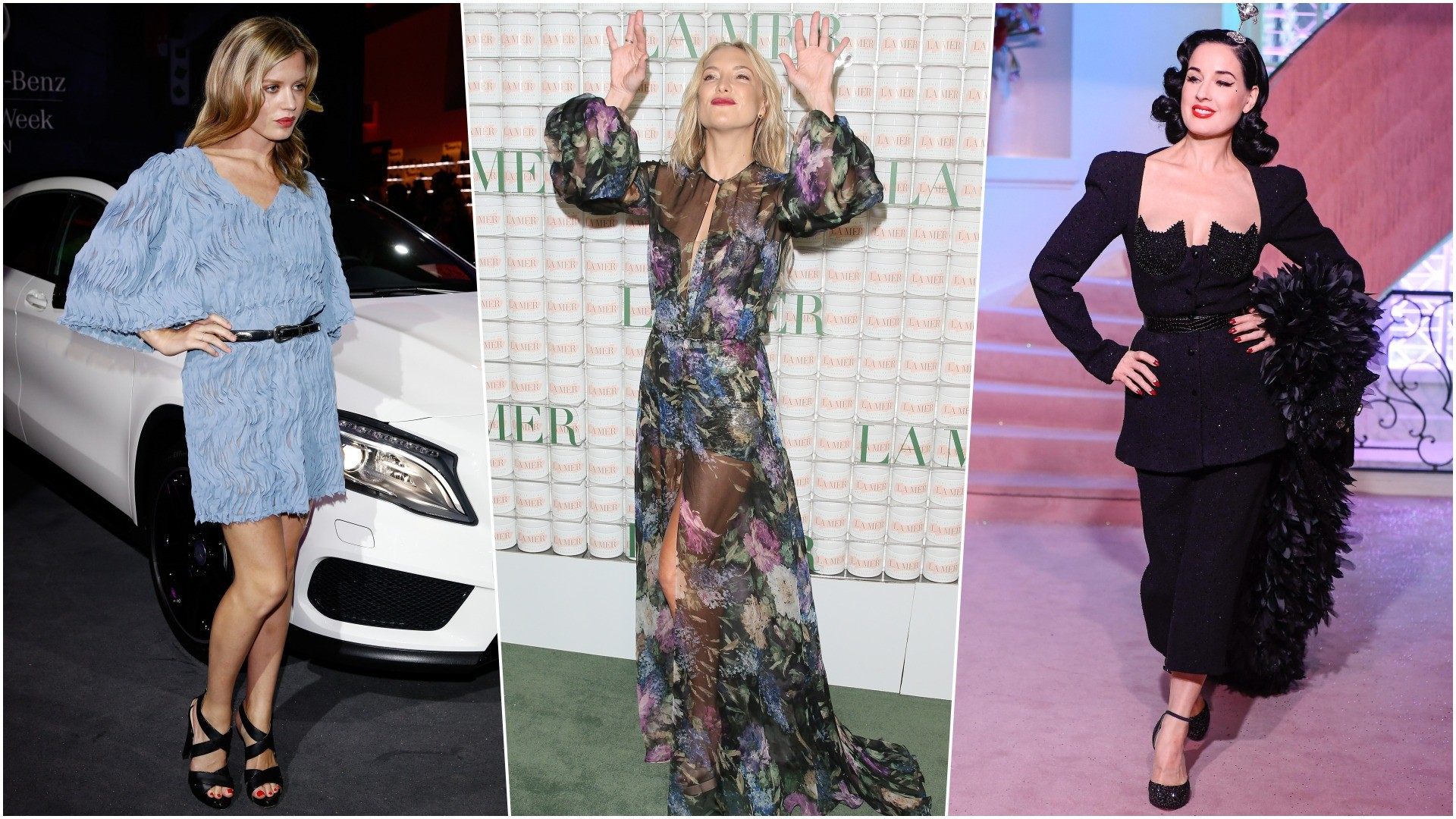 Georgia May Jagger in the clothes of Alena Akhmadullina, Dita von Teese in Sergeenko, Kate Hudson in Yanina