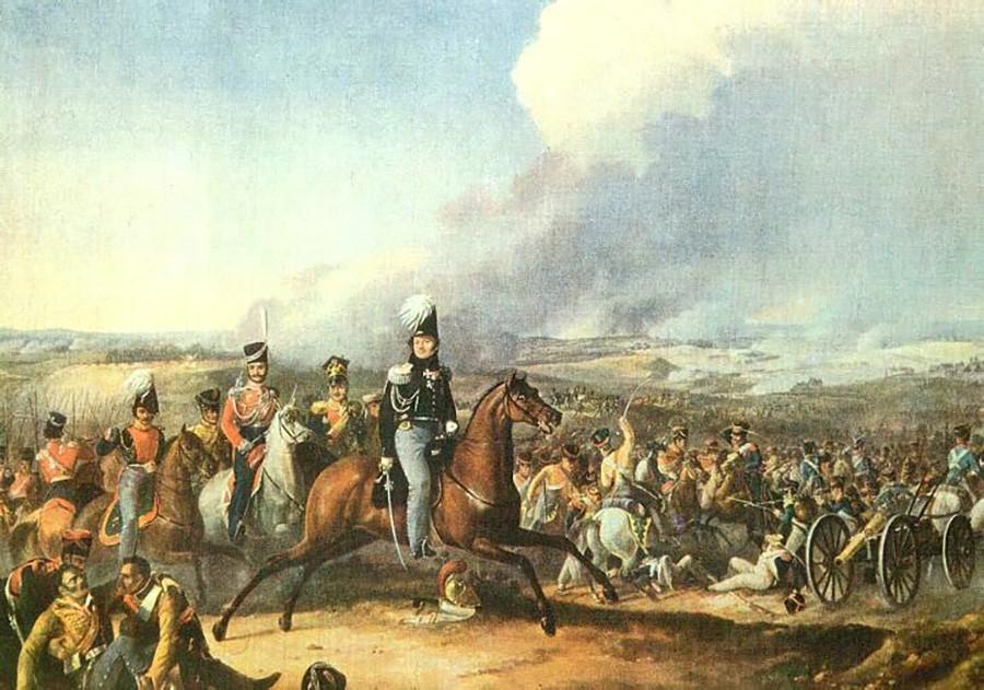 Serangan Kavaleri Uvarov di Borodino oleh Auguste-Joseph Desarnod.