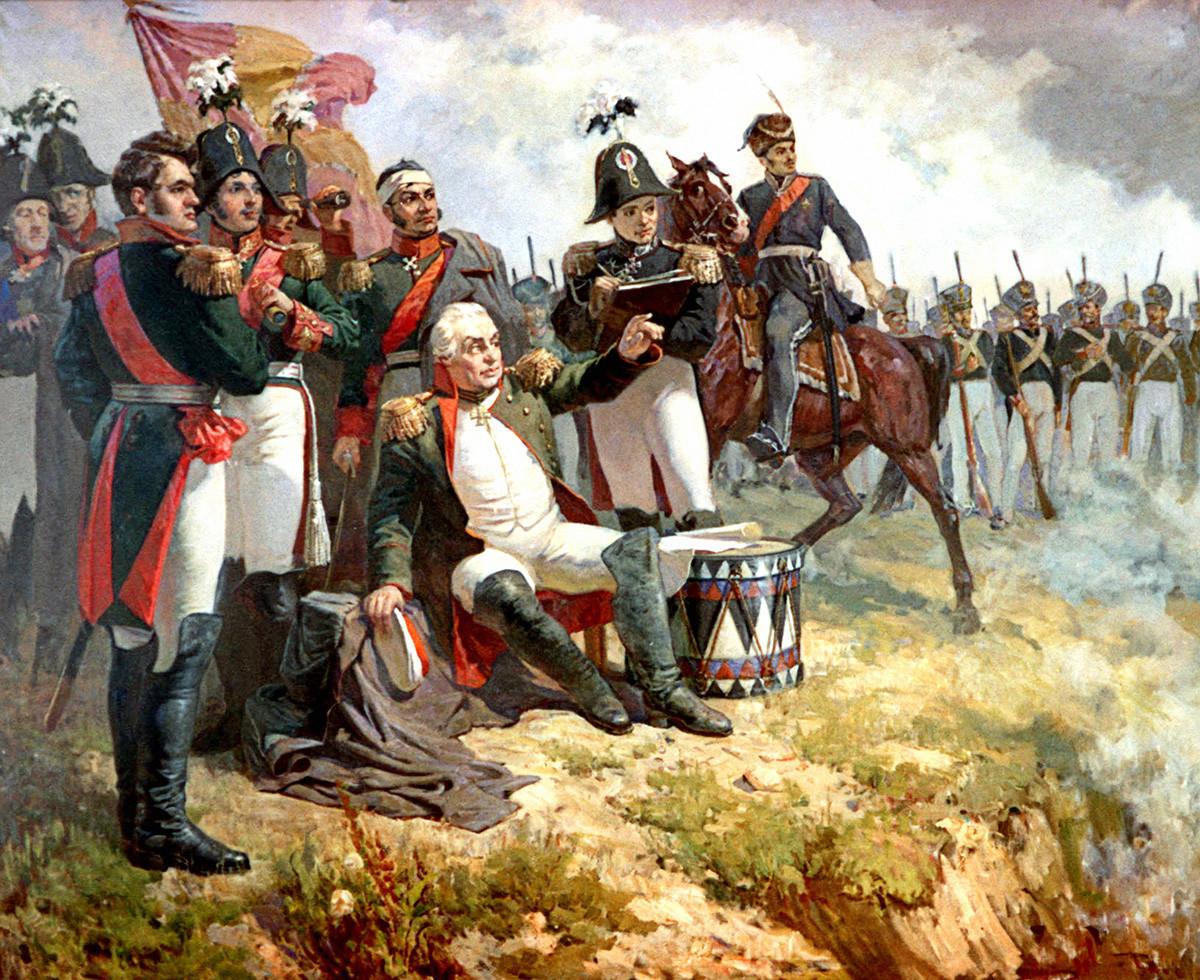 Marsekal Lapangan Mikhail Kutuzov di pos komandonya selama pertempuran Borodino pada tahun 1812. Lukisan oleh A. Shepelyuk (1951).