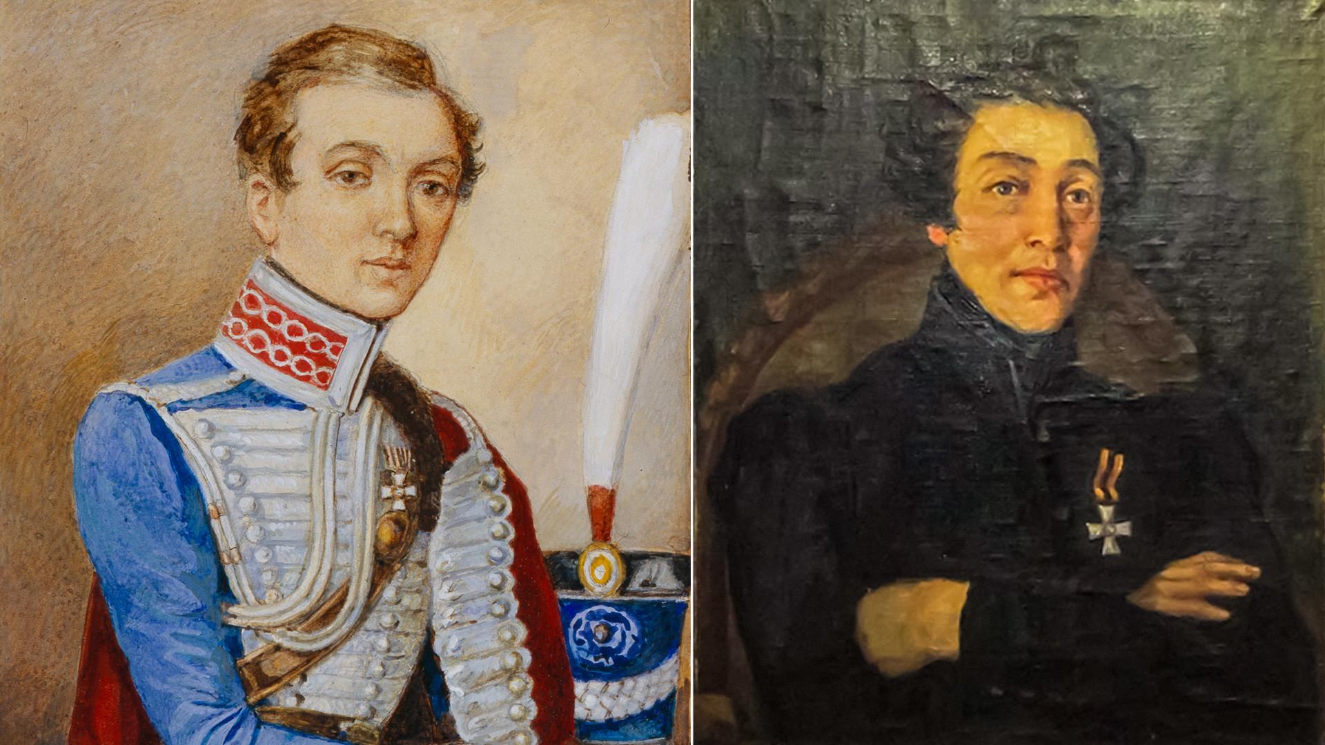 Nadezhda Durova pada 1810, dari koleksi Museum Borodino (kiri). Potret Nadezhda Durova oleh Viktor Kudelkin, 1953 (kanan).