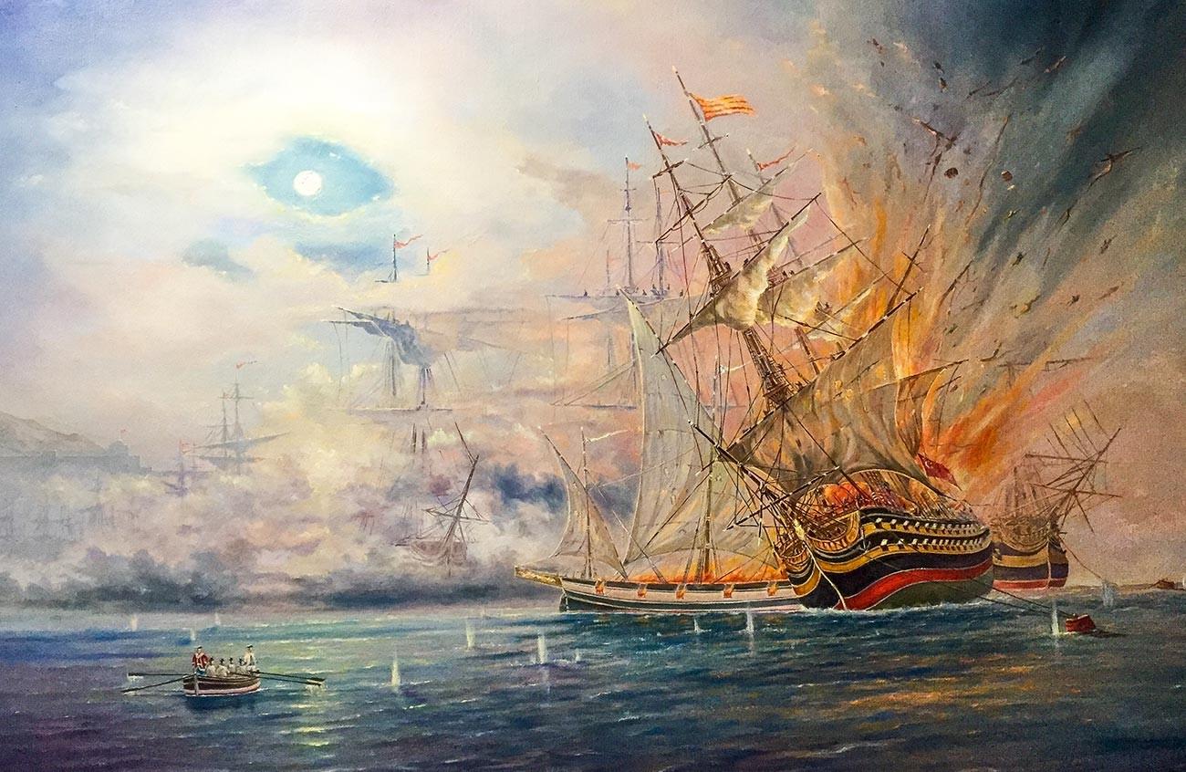 """""""Schlacht von Chesme im Jahr 1770""""."""