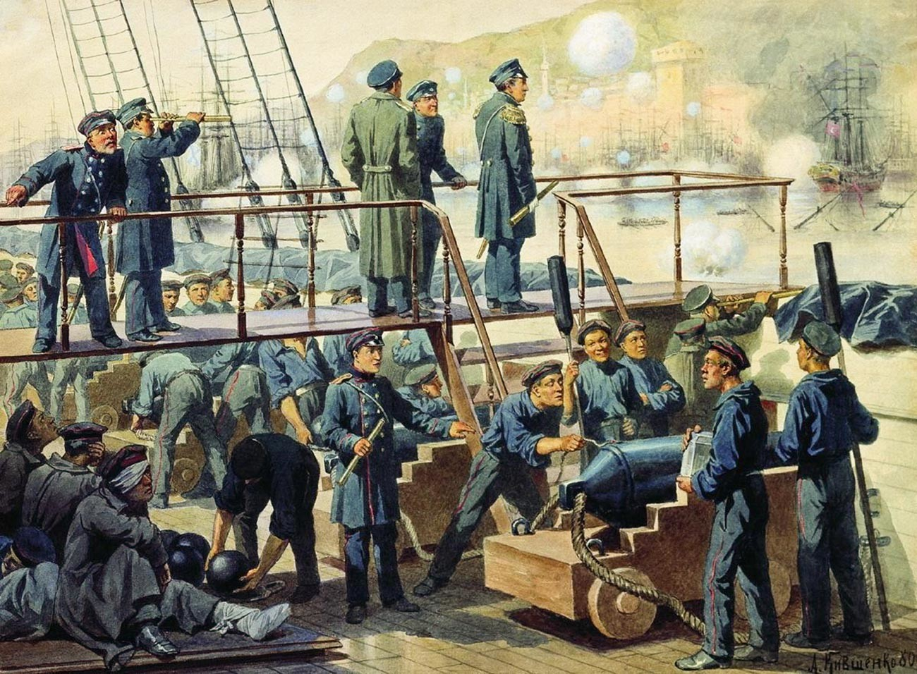 """""""Das Deck des Schlachtschiffs """"Kaiserin Maria"""" während der Schlacht von Sinope""""."""