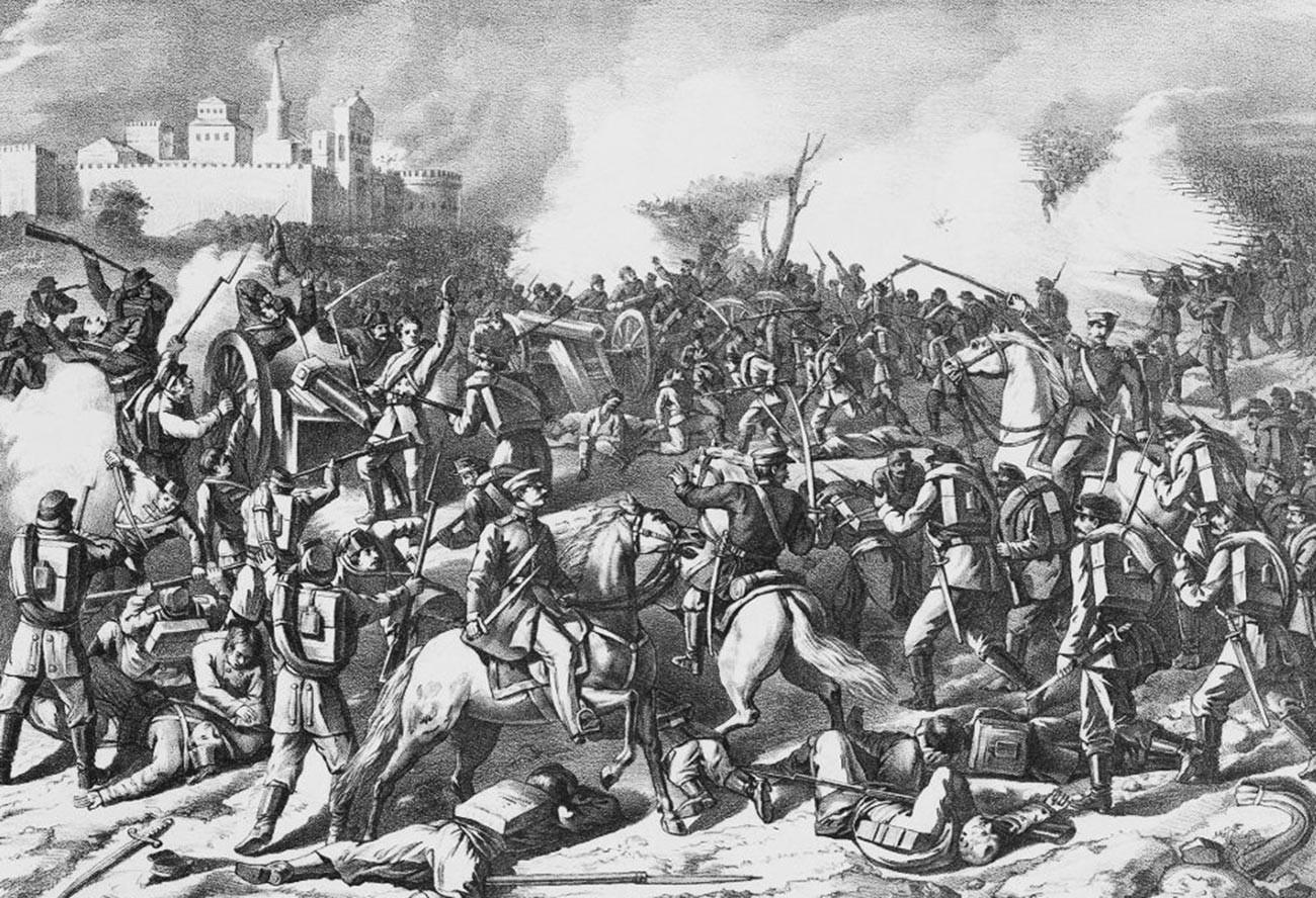 Die Schlacht am Schipka-Pass im August 1877.