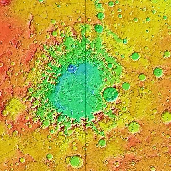 Mapa topográfico colorido de Argyre Planitica. Esta é a segunda bacia mais profunda de Marte, no hemisfério sul, a sudeste do sistema de cânions Valles Marineris