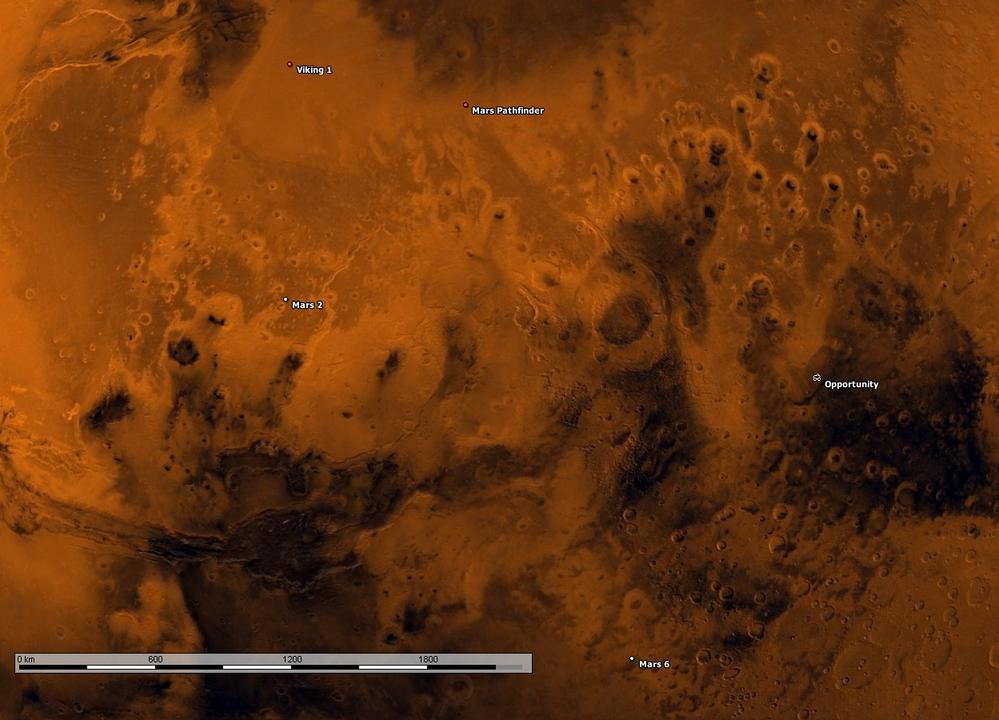 Mapa do planeta Marte mostrando as localizações das sondas 'Viking 1', 'Marte 2', 'Marte Pathfinder', 'Opportunity' e 'Marte 6'