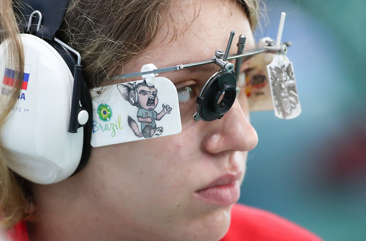 Vitalina Batsarashkina of Russia takes part in a training session for the Women's 25m Pistol Shooting competition in the Olympic Shooting Centre in Deodoro, Rio de Janeiro, Brazil, 04 August 2016. The Rio 2016 Olympic Games take place from 05 to 21 August