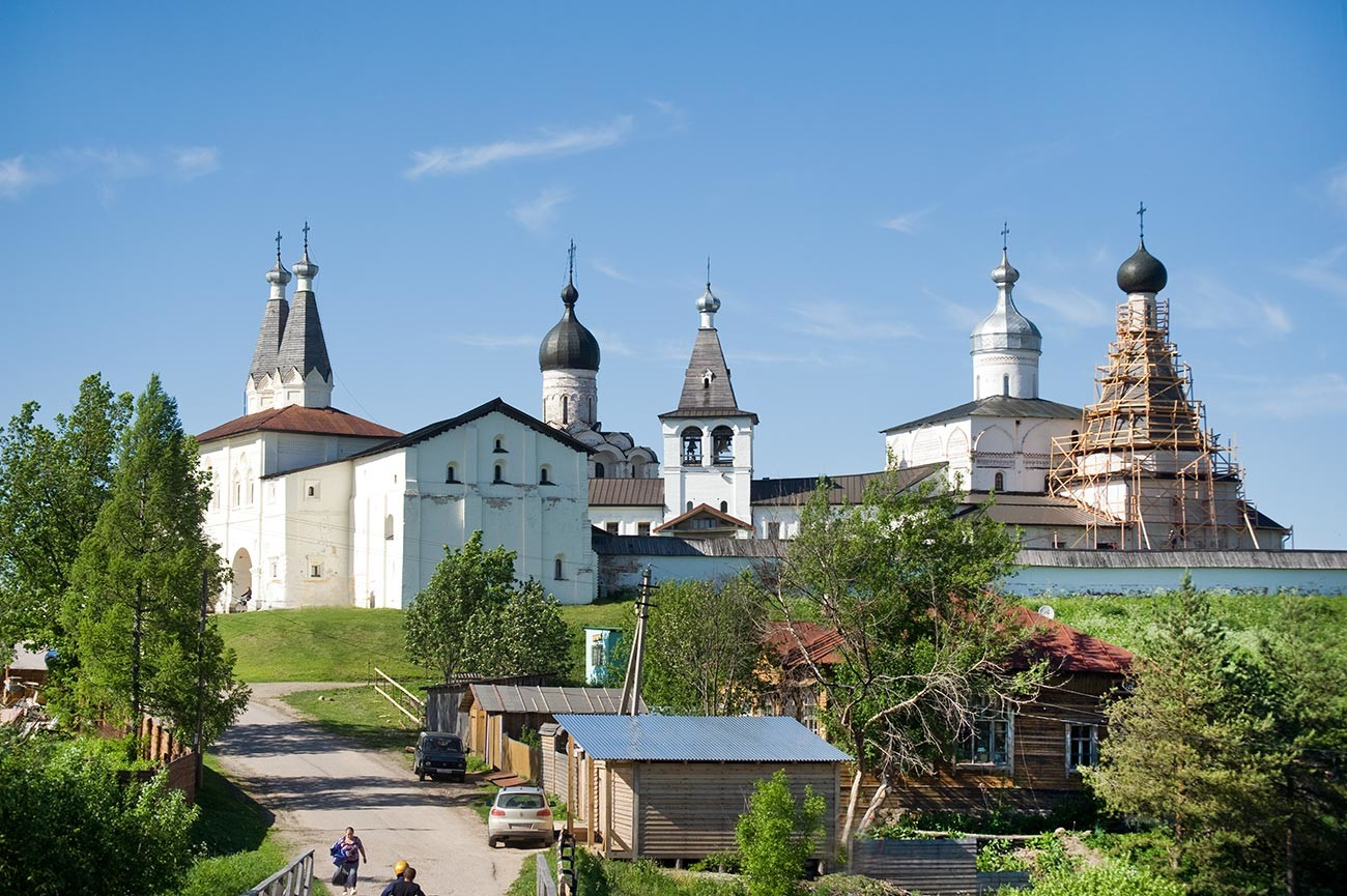 Ferapontov Monastery, southwest view. From left: Churches of Epiphany & St. Ferapont, bell tower, Nativity Cathedral, Church of St. Martinian. June 1, 2014