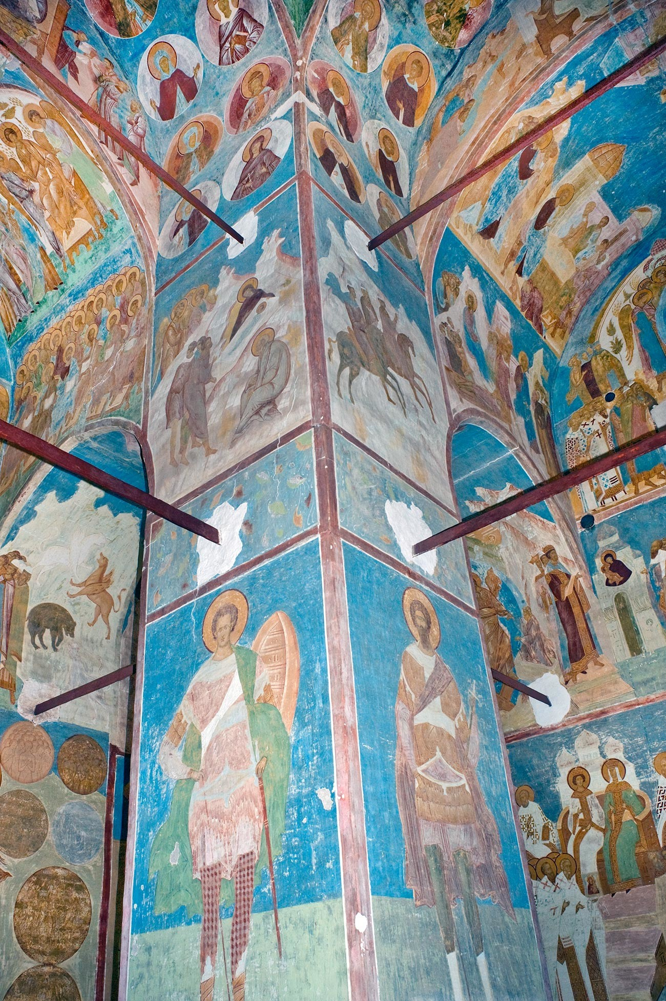 Cathedral of Nativity. Northwest pier with frescoes of St. Demetrius (left) & St. Theodore. Upper level: Three Wise Men following the Star. June 1, 2014