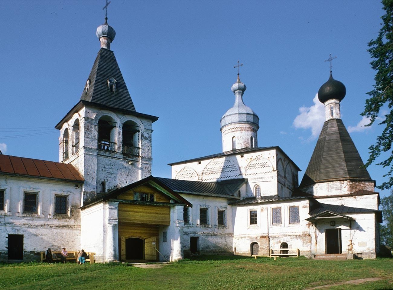 Ferapontov Monastery, west view. From left: bell tower, Nativity Cathedral, Church of St. Martinian. August 2, 1998