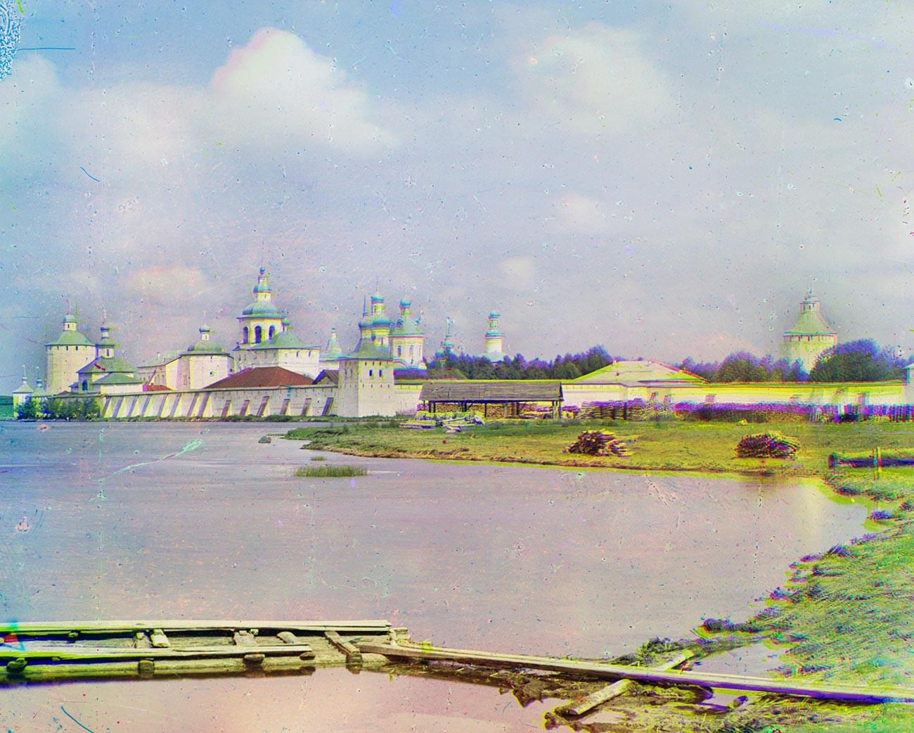 Kirillov. St. Kirill Belozersk Monastery. Southeast view with south shore of Siverskoe Lake. Summer 1909