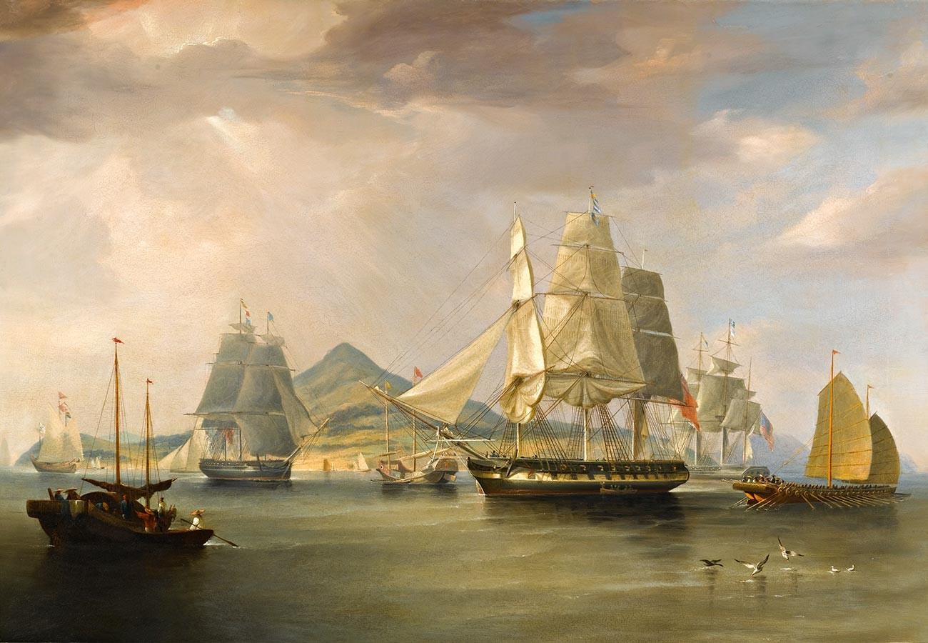Кораби с опиум край остров Линдин. 1824 г.