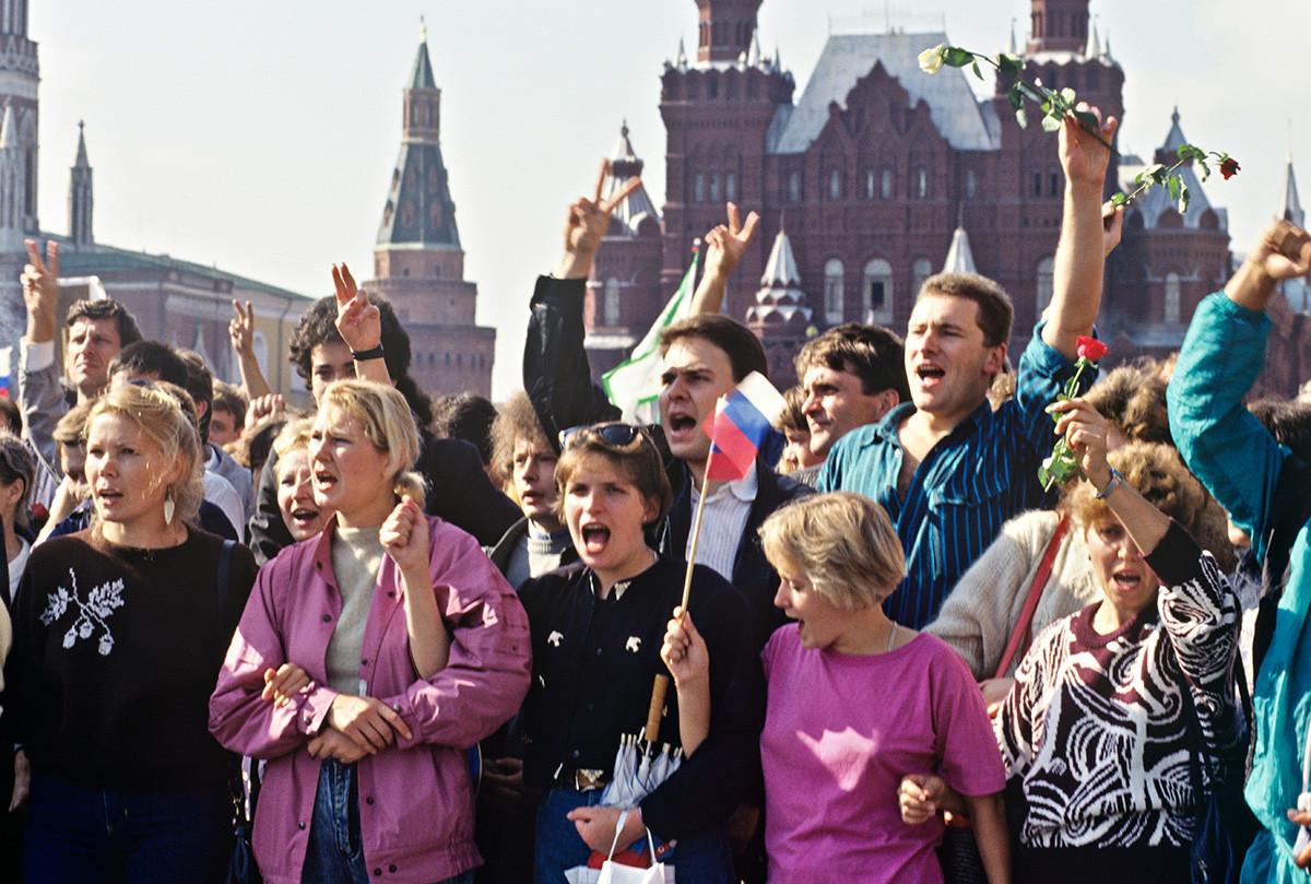 Praça Vermelha de Moscou em agosto de 1991