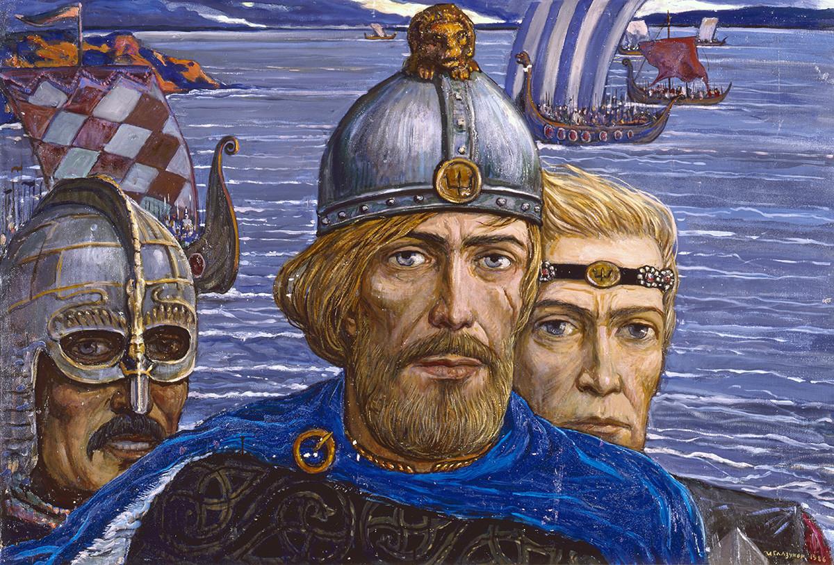 Reprodução da pintura Netos de Gostomysl: Rurik, Truvor, Sineus, do artista Ilia Glazunov.