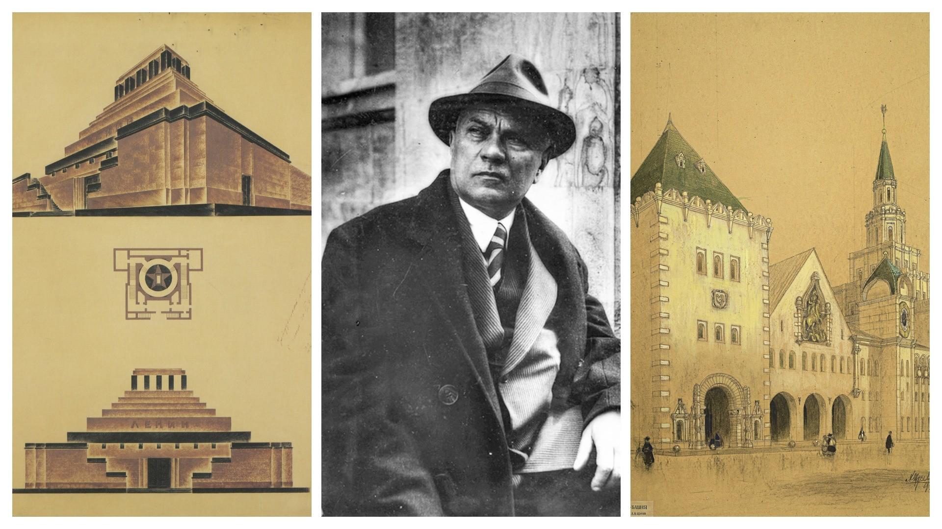 Aleksej Shchusev e due delle sue creazioni: il Mausoleo di Lenin (a sinistra) e la stazione ferroviaria Kazanskij di Mosca