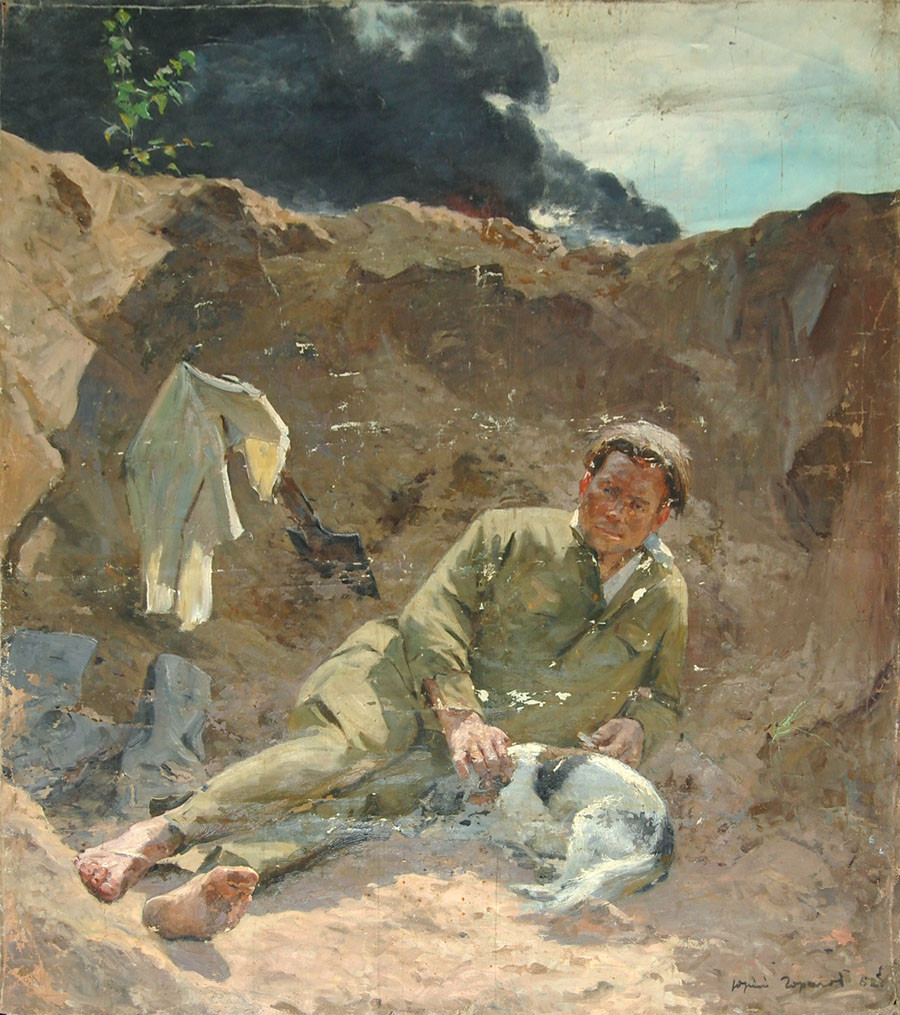 Lukisan karya Yuri Gorelov berjudul 'Apakah Rusia Ingin Perang?', 1962.