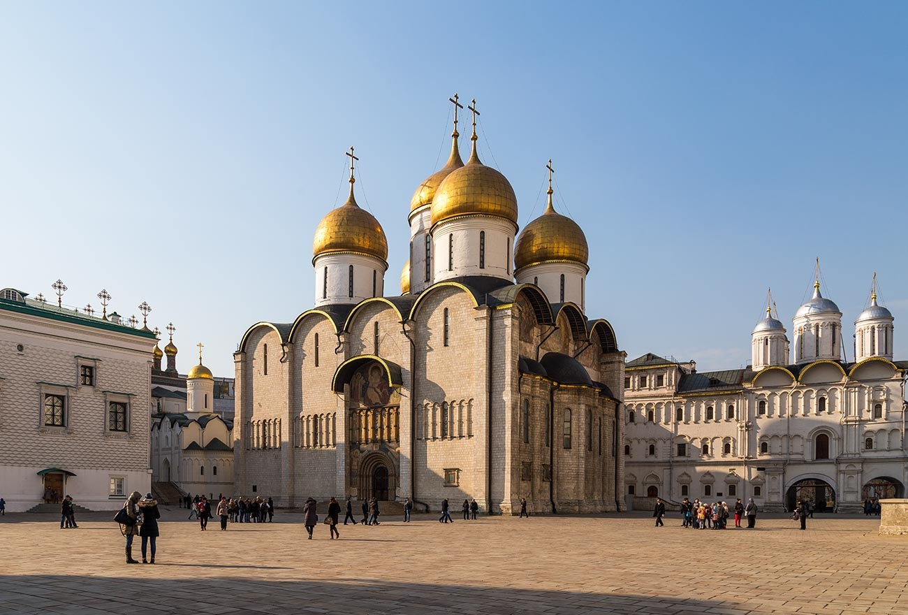 The Dormition Cathedral of the Moscow Kremlin, constructed by Aristotle Fioravanti under Ivan III.