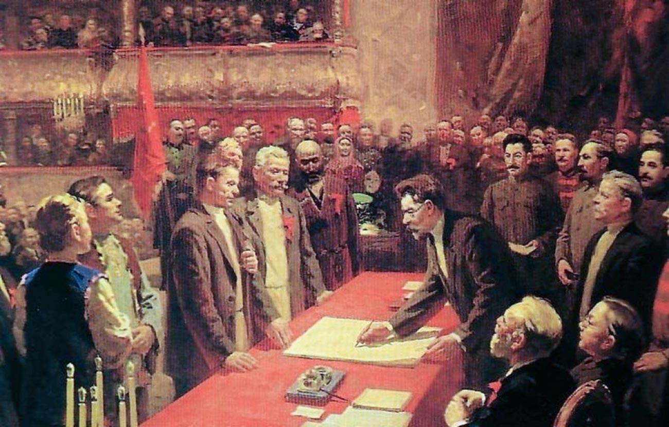 Penandatanganan perjanjian pembentukan Uni Soviet pada 30 Desember 1922.