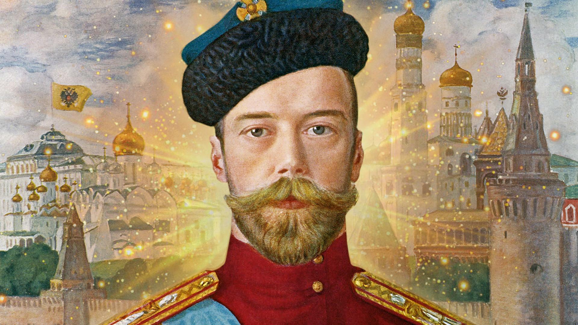 """""""Kaisar Nikolay II dari Rusia"""" oleh Boris Kustodiev, 1915."""