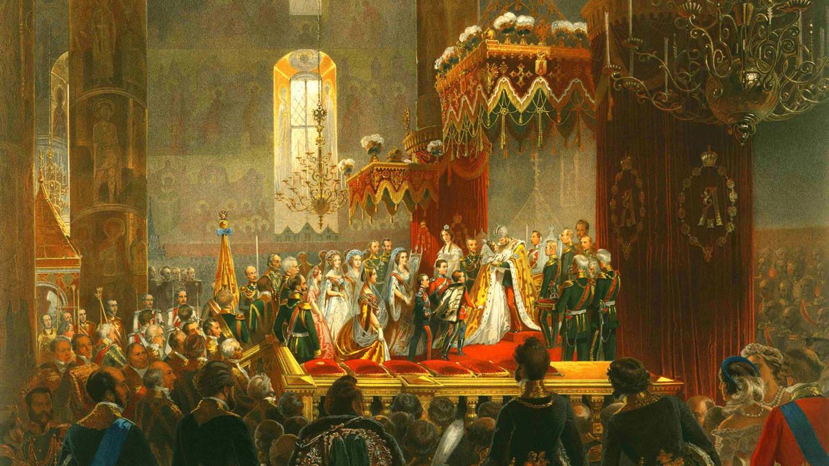 """""""Penobatan Aleksandr II di Katedral Uspensky, Moskow"""" oleh M. Zichi."""