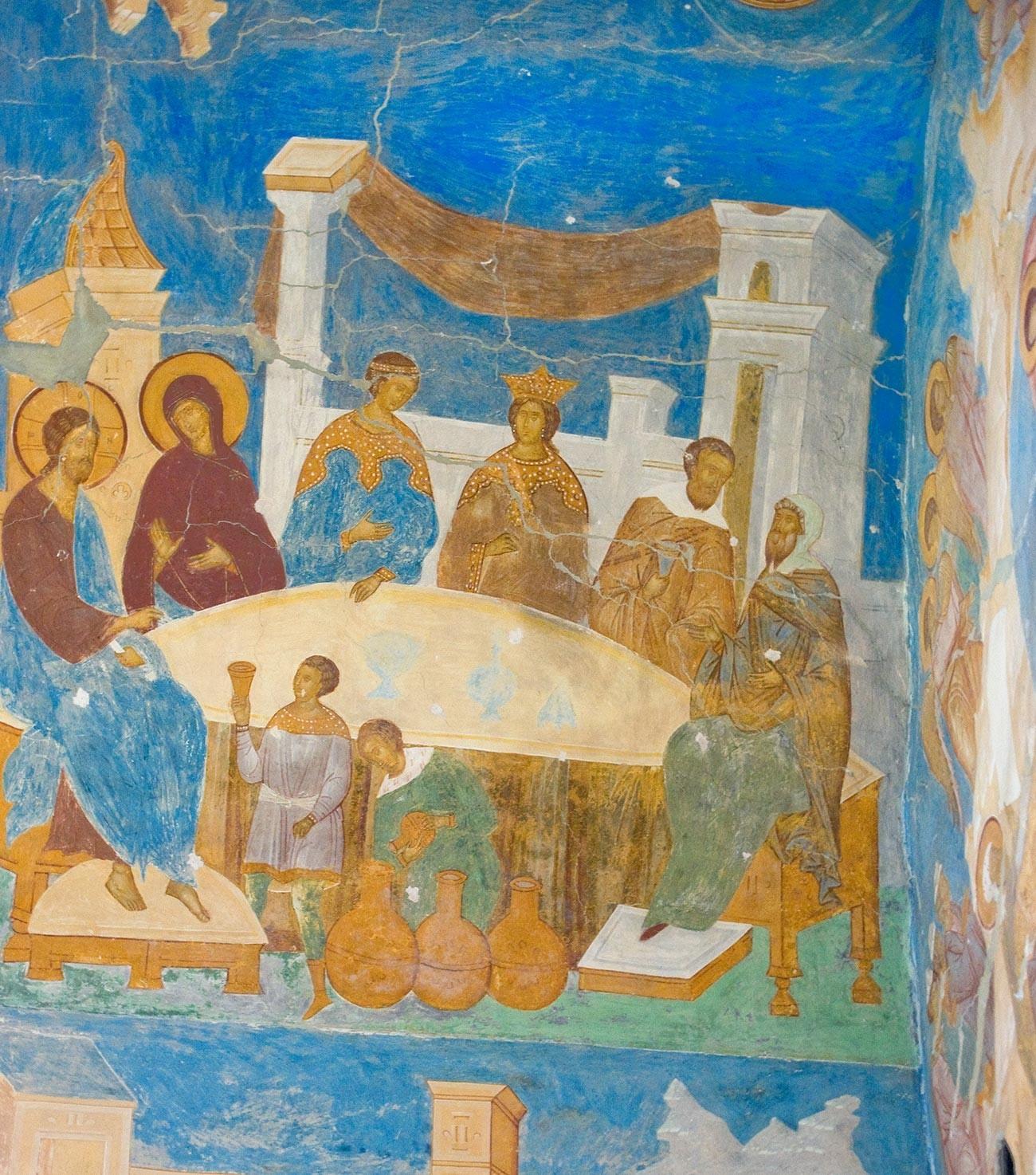 Katedrala rojstva Device Marije. Južna stena, lok oboka, leva stran. Freska Kristusa na poroki v Kani. 1. junij 2014