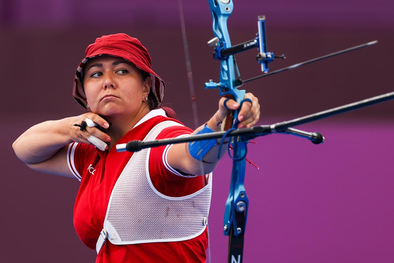 Elena Osipova of Team ROC competes in the archery Women's Individual 1/8 Eliminations on day seven of the Tokyo 2020 Olympic Games at Yumenoshima Park Archery Field on July 30, 2021 in Tokyo, Japan