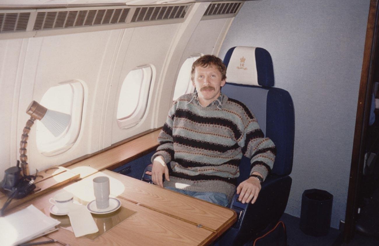 Victor Nikiforov inside Prince Philip's aircraft.