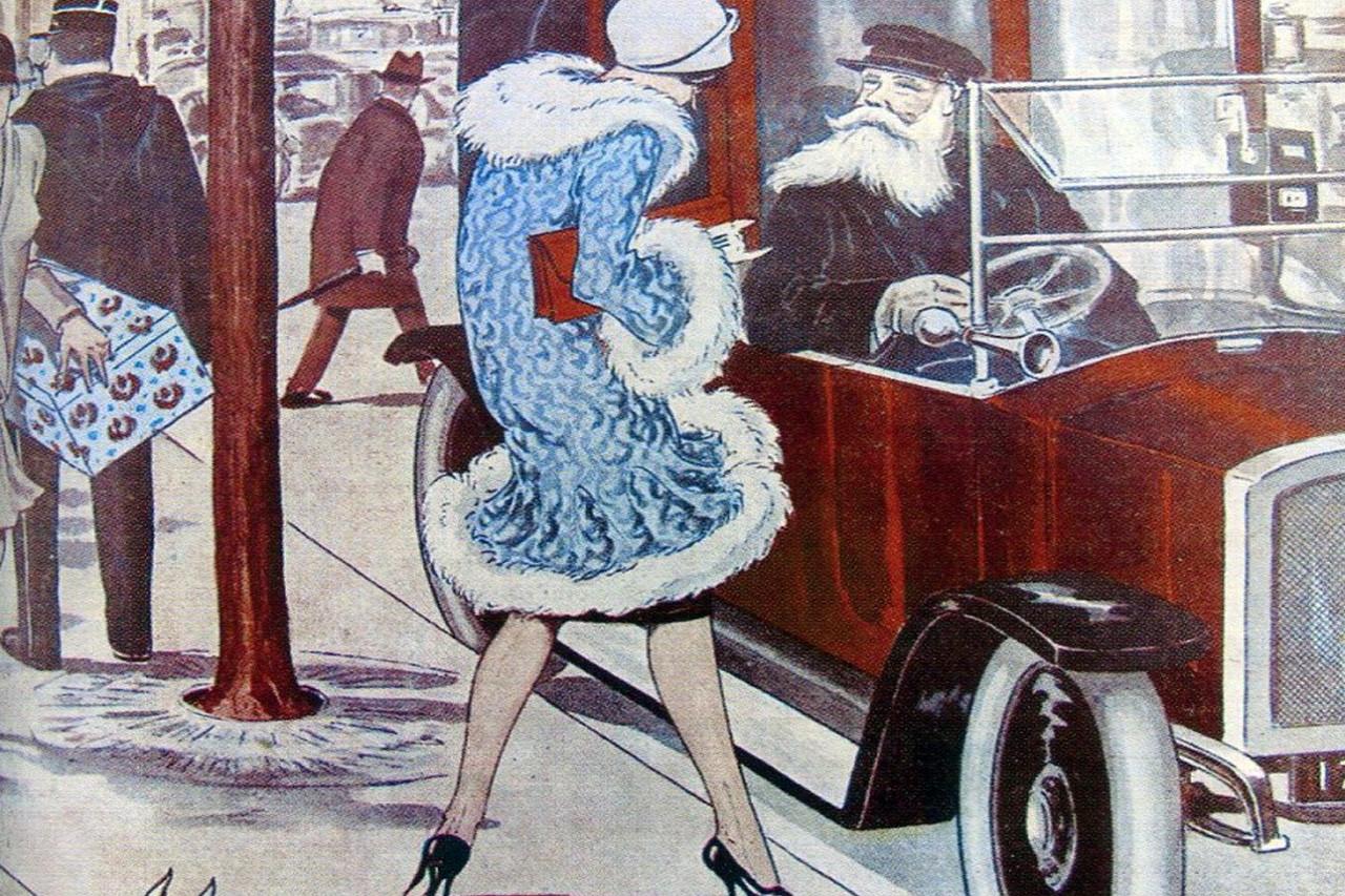 Caricature d'un chauffeur de taxi russe