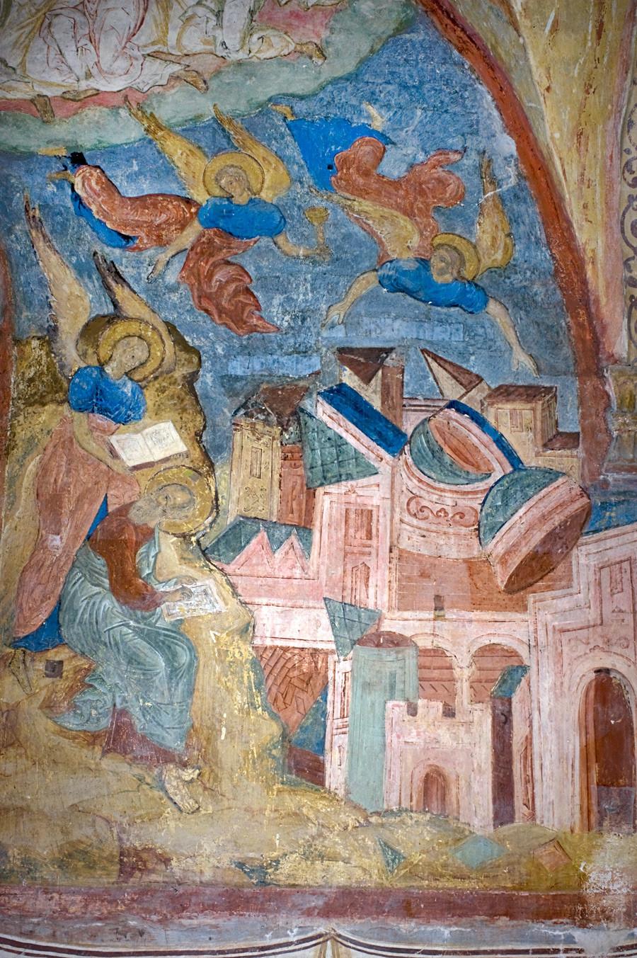 Monastère Saint-Cyrille-Belozersk. Cathédrale de la Dormition, galerie nord. Mur Est avec fresque de l'Apocalypse. Chute de Babylone et Saint-Jean écrivant le Livre des Révélations.