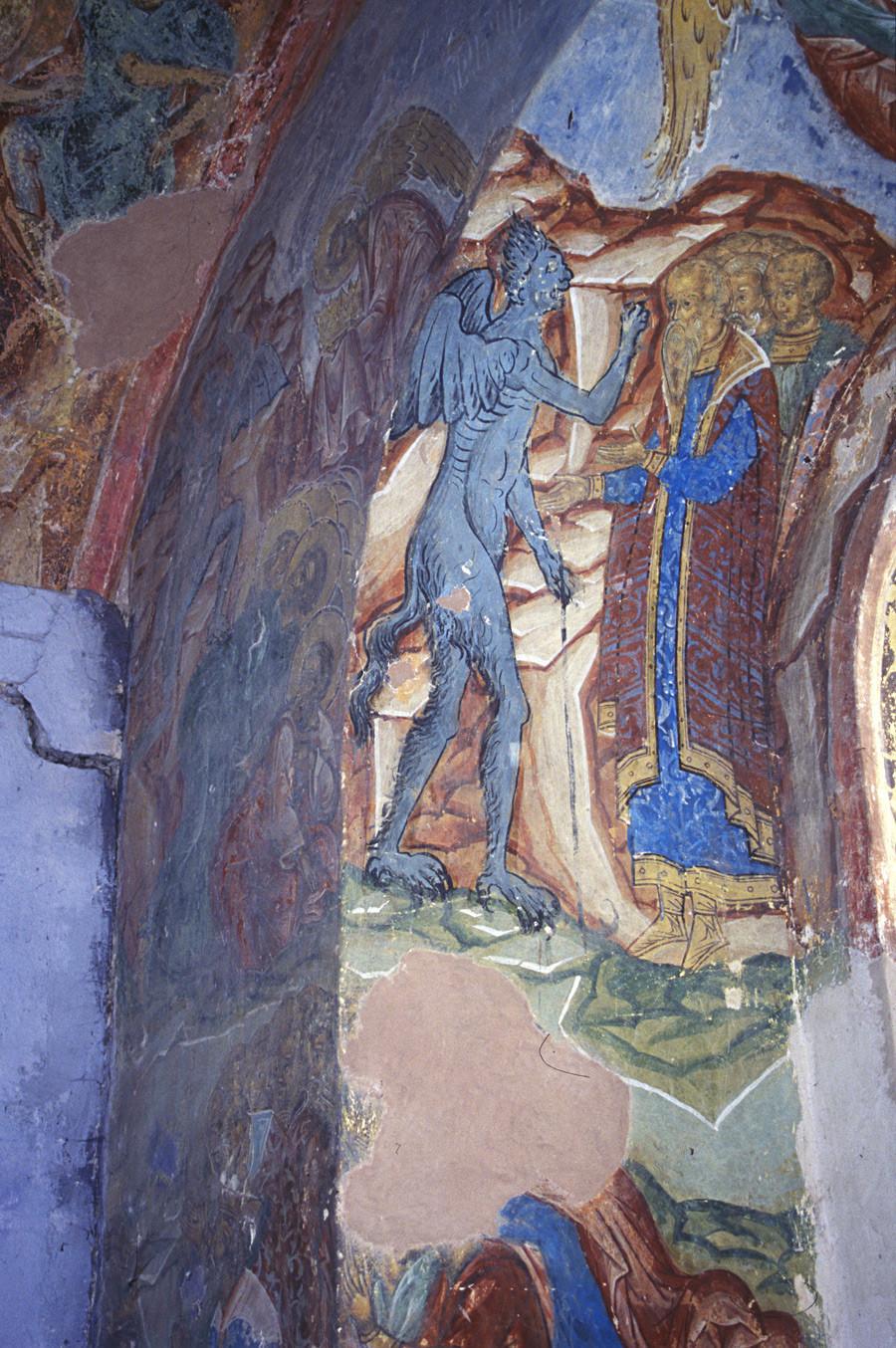 Monastère Saint-Cyrille-Belozersk.Cathédrale de la Dormition, galerie nord. Embrasure d'une fenêtre du mur nord où l'on voit le diable apposer la marque de l'antéchrist sur le front de ses adeptes