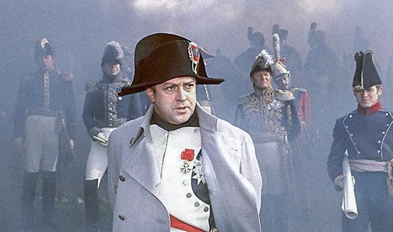 """Wladislaw Strscheltschik als Napoleon in dem Film """"Krieg und Frieden"""" von  Sergej Bondartschuk."""