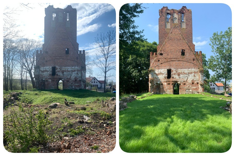 Before and after: Brandenburg Kirche in Ushakovo