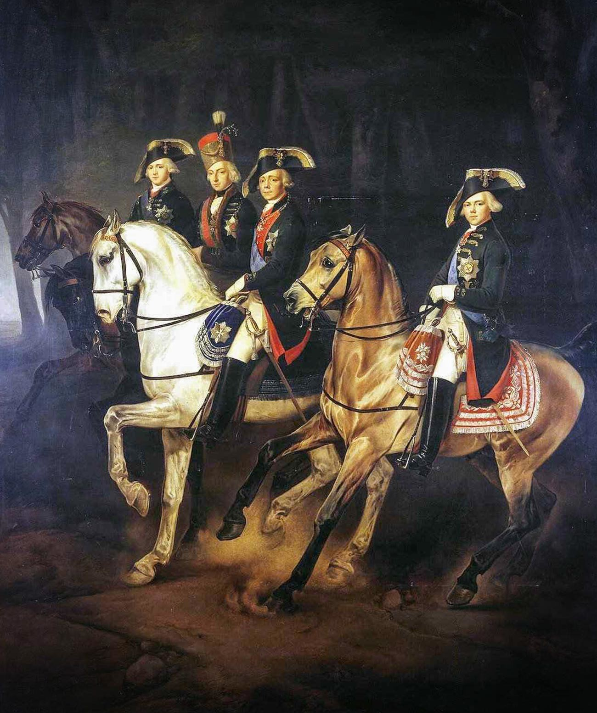 Portret na konjih carja Pavla I. s sinovoma in madžarskim palatinom Jožefom