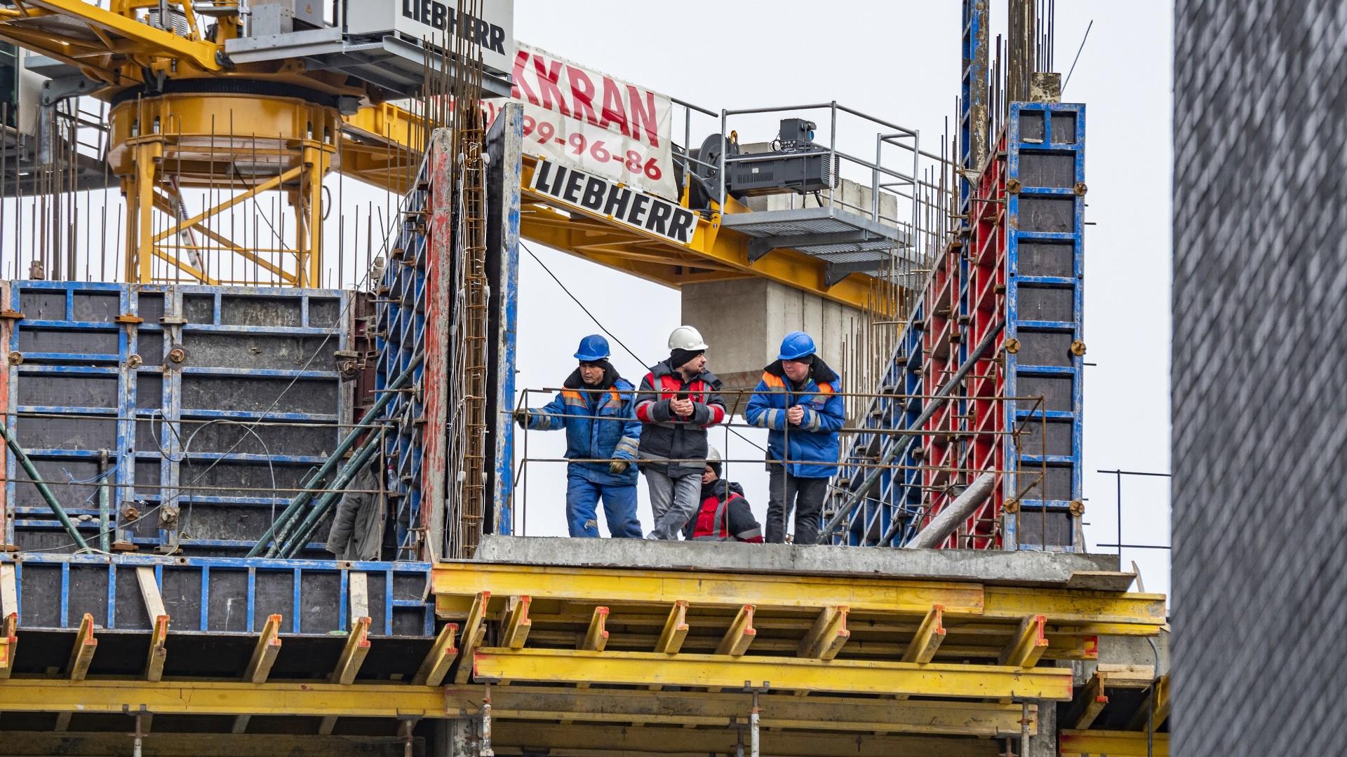 Sur un chantier à Moscou