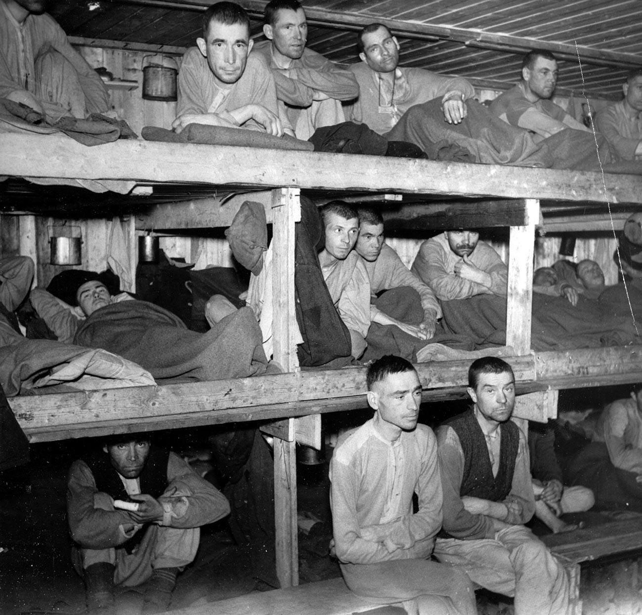 Tentara Soviet yang menjadi tawanan perang Nazi Jerman di Kamp Bjørnelva, Norwegia.