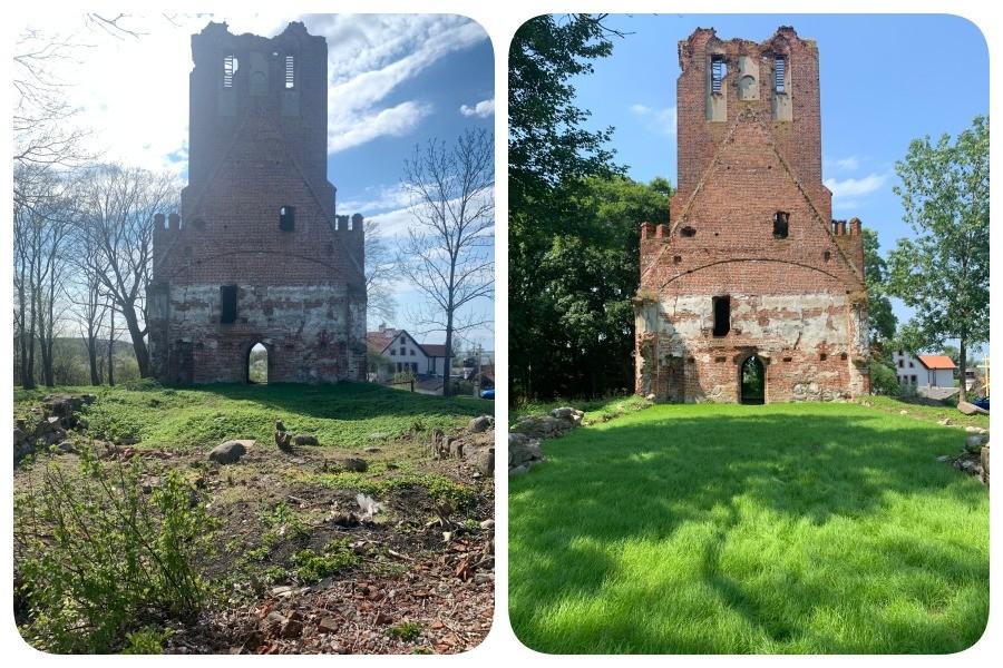 Vorher und nachher: Brandenburg-Kirche in Uschakowo