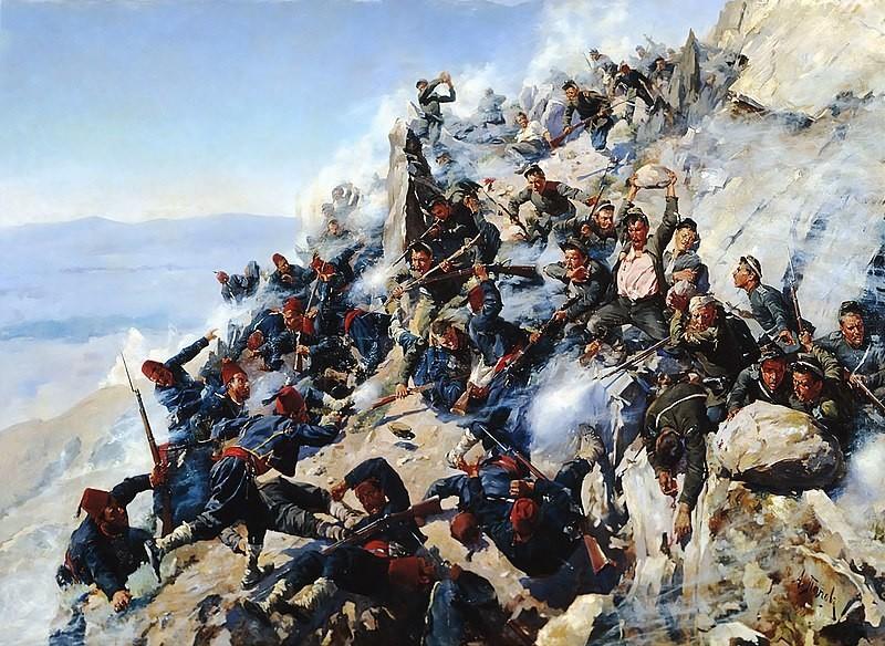 Pertempuran Rute Shipka pada Agustus 1877.