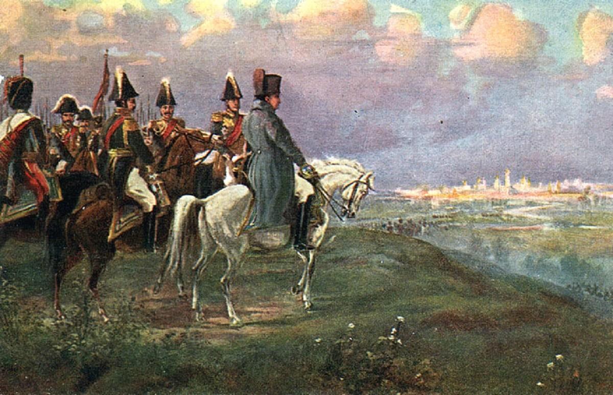 Napoléon sur le mont Poklonnaïa, peinture de I. Lvov