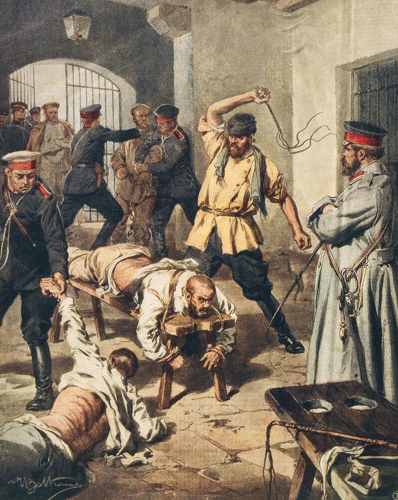 Fustigazione (da La Domenica del Corriere. Gli orrori delle prigioni russe, di Achille Beltrame)