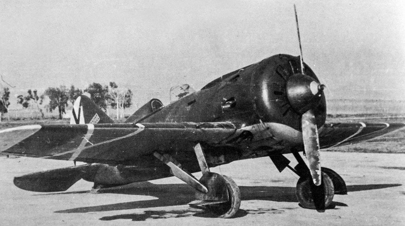 Polikarpov I-16, avião de combate soviético usado pelas forças republicanas durante a Guerra Civil Espanhola.