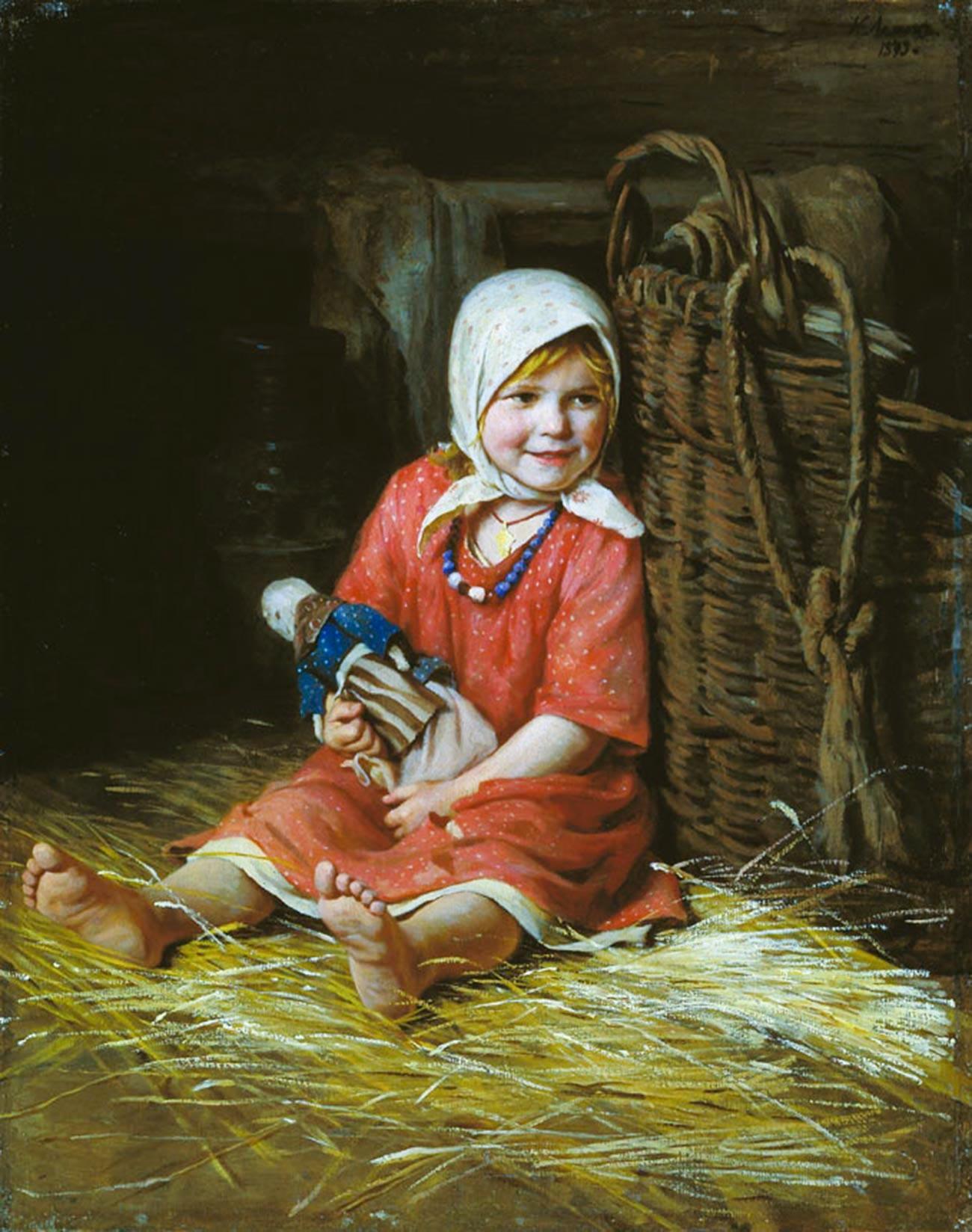 Warjka von Karl Lemoch. Das Mädchen hält eine Holzpuppe.