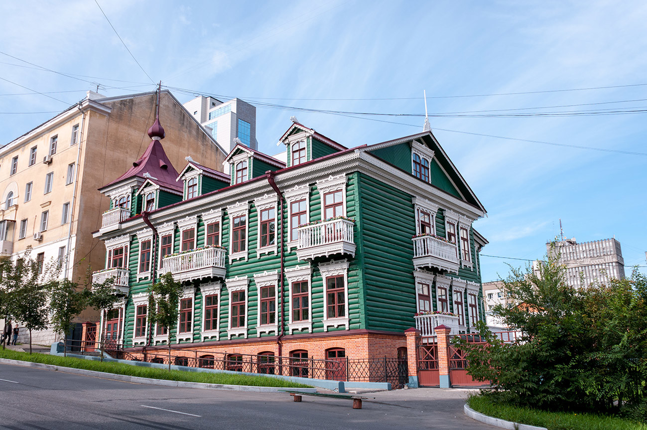 A restored wooden beautiful house in the center of Khabarovsk
