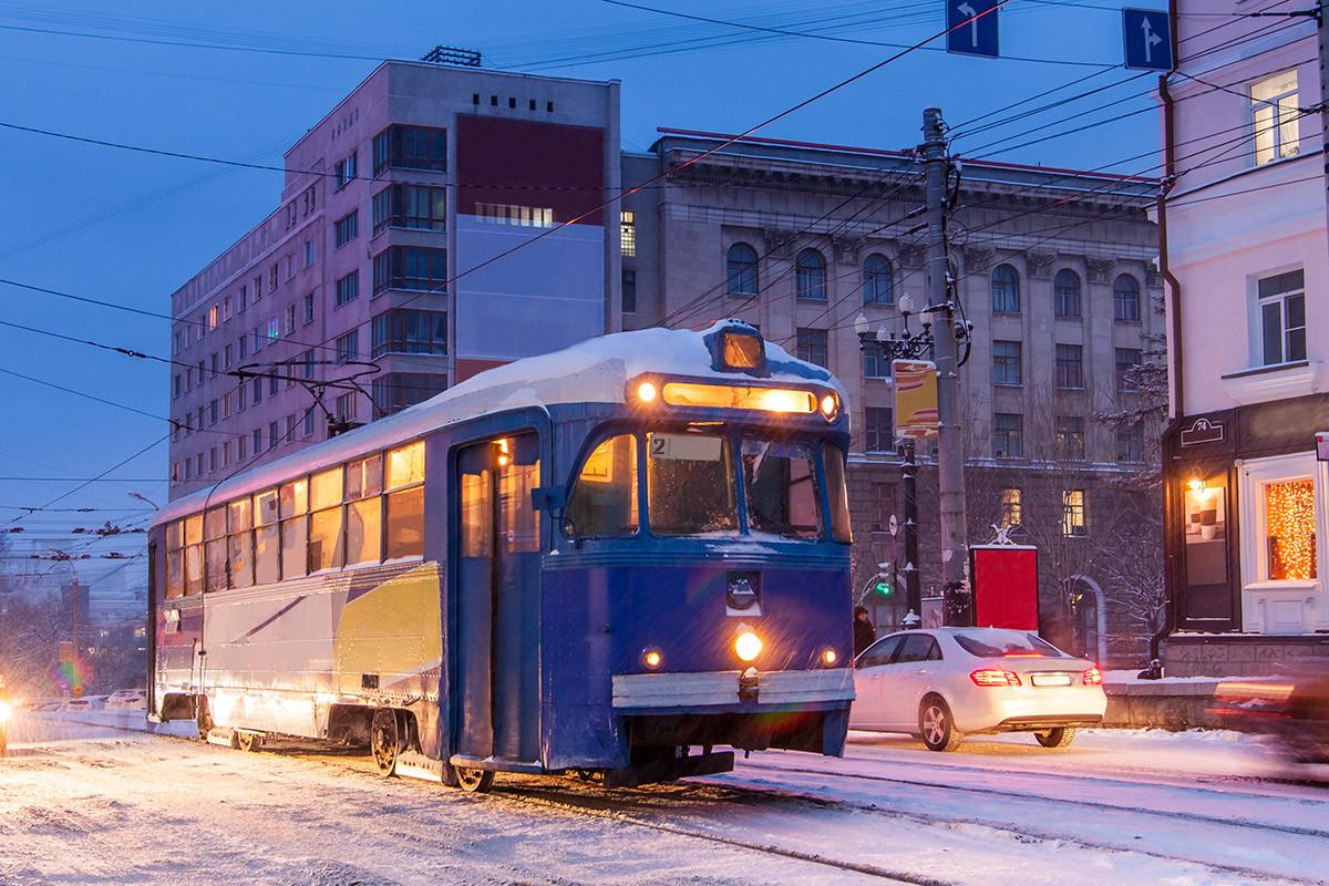 Old Tram at the winter street of Khabarovsk