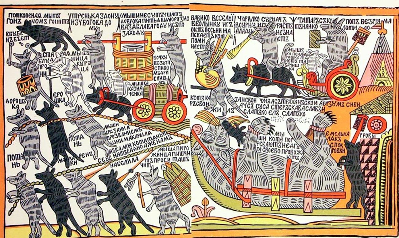 """""""Wie Mäuse die Katze begruben"""", ein Volkscomic aus dem 18. Jahrhundert, der den Trauerzug von Peter dem Großen parodiert."""
