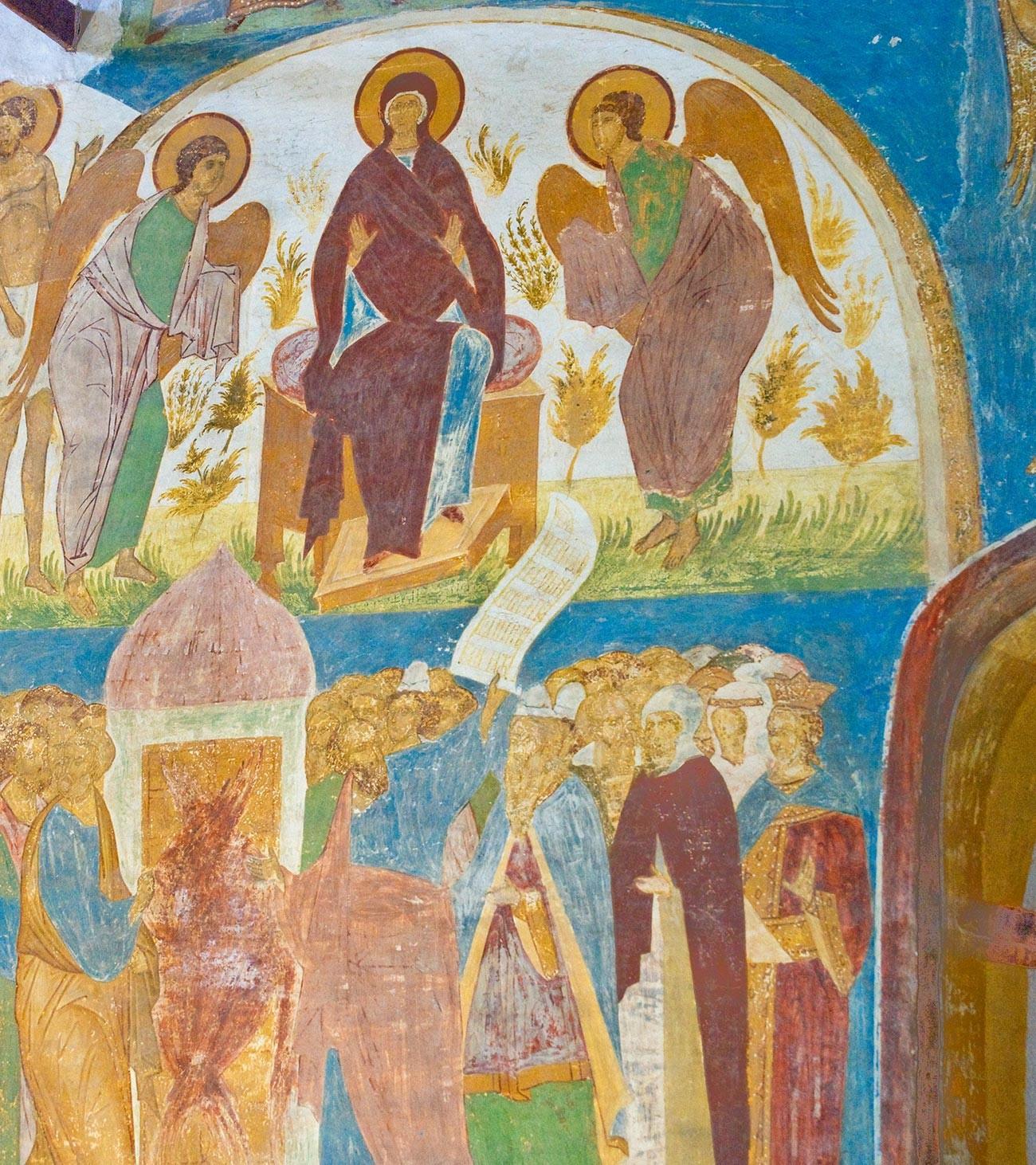 Cathédrale de la Nativité. Mur nord. Ange de la fresque «Vision du moine Eulogios»