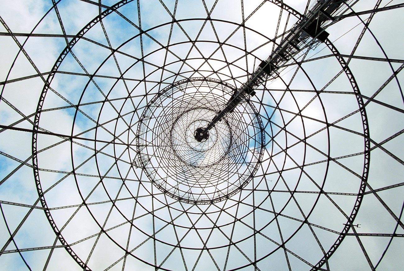 The Shukhov tower in Moscow from the inside.