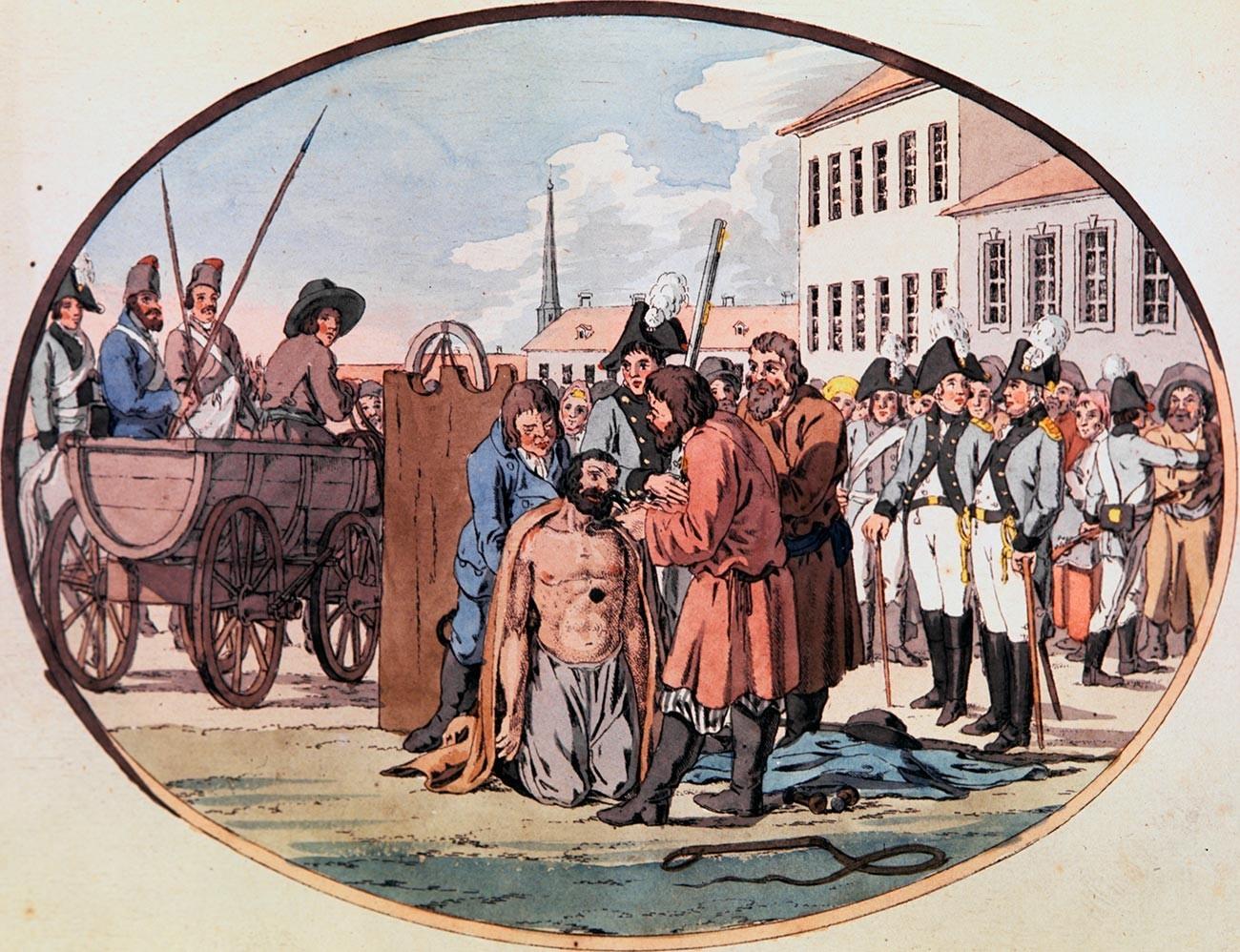 Hukuman menarik lubang hidung di Rusia, akhir abad ke-18.