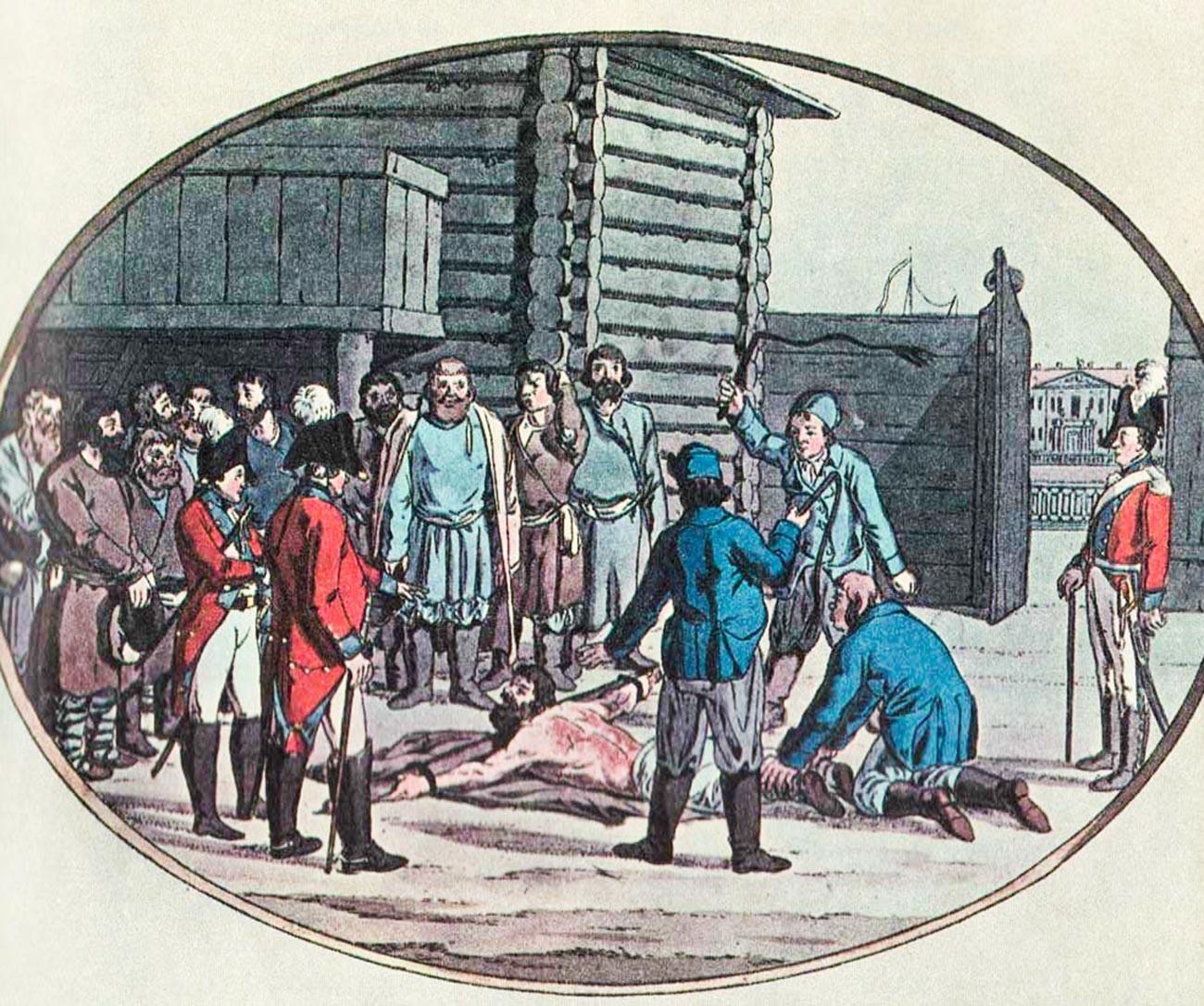 Pencambukan di Rusia, akhir abad ke-18.