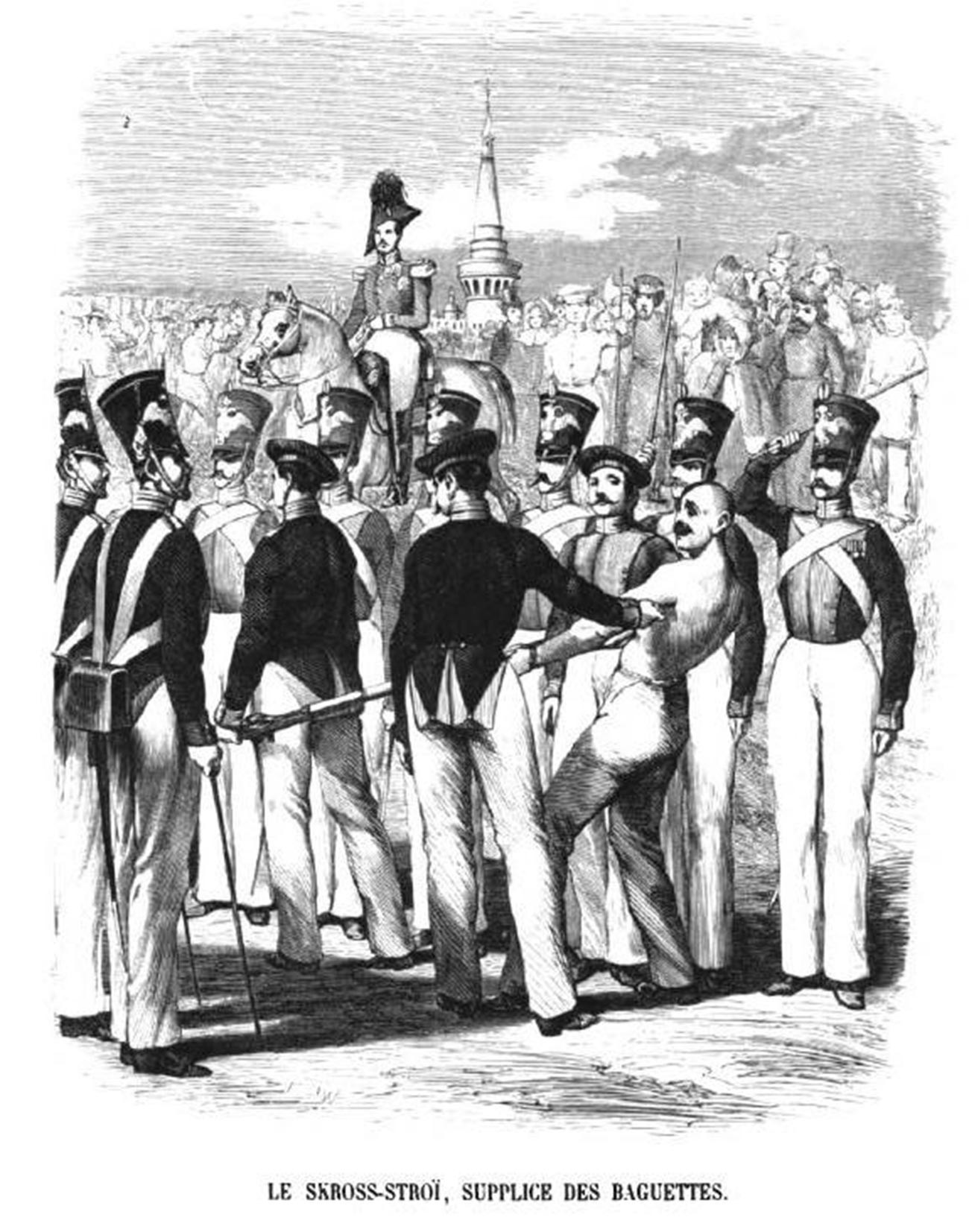 Berlari sambil dipukuli tongkat oleh ratusan tentara di Rusia,  (Running the gauntlet), karya Charles-Michel Geoffroy, 1845.