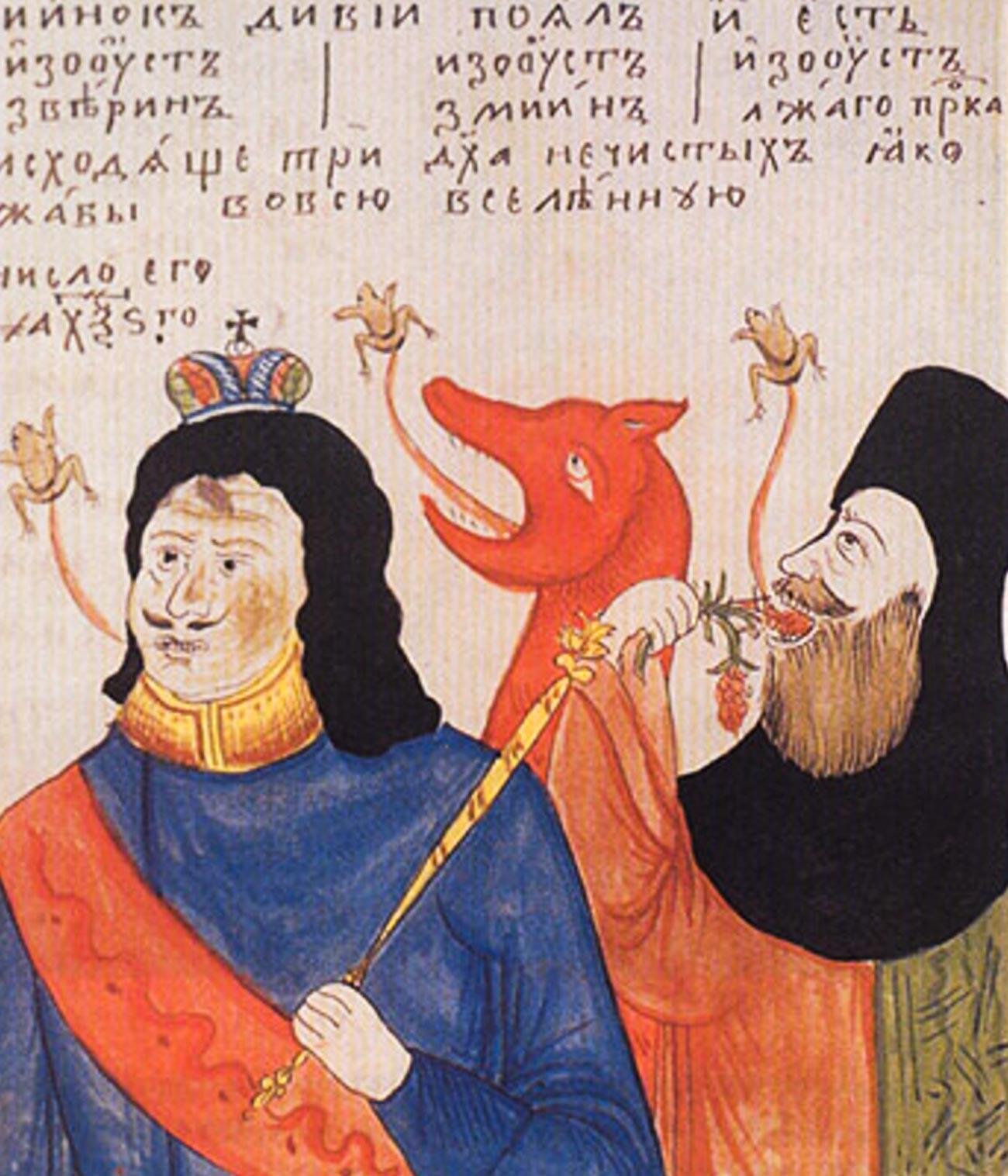 Una caricatura dei Vecchi Credenti che raffigura lo zar Pietro come l'Anticristo